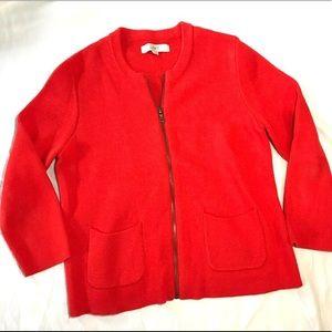 Loft Orange Cotton Zip Up Cardigan Sweater Medium
